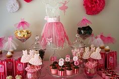 Grade 1 Ballet Party (Catch My Party) Birthday Party Desserts, Ballerina Birthday Parties, Ballerina Party, First Birthday Parties, Girl Birthday, Birthday Ideas, Happy Birthday, Party Centerpieces, Party Time