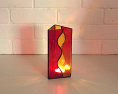 Rainbow Stained Glass Candle Holder - Stained Glass for  Big matches-  Tealight Candle Holder- Christmas Gift