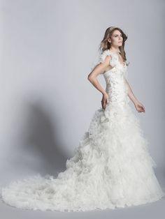 - Mermaid One Shoulder Organza Wedding Dress - Ophelia Contessa White on White White Wedding Dresses, One Shoulder, Mermaid, Collection, Fashion, Moda, Fasion, White Wedding Cakes, White Prom Dresses