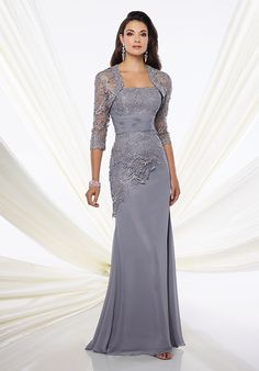 Two-piece chiffon and Venise lace dress set, strapless slim A-line gown, lace bodice with asymmetrically dropped waist, ruched chiffon midriff, sweep train, matching three-quarter sleeve Venise lace bolero jacket, matching shawl and removable straps included.