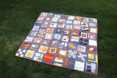 love this sampler quilt.  I need to explore gray and orange together.