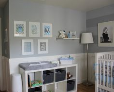 Project Nursery - Boy Gray Striped Nursery Changing Table