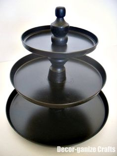 DIY - Tiered Dessert Stands/Plates using dollar store stove burner covers