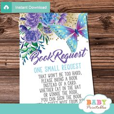 Purple and Turquoise Butterfly Book Request Cards – D232 - Baby Printables