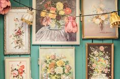 Vintage florals...gallery wall decor.
