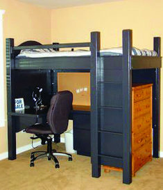 24 Cute Kids Loft Beds With Desk Underneath : Awesome Grey Kids Loft Bed Design with Desk Underneath and Modern Brown Swivel Chair in Peach Kids Bedroom Loft Bed Desk, Build A Loft Bed, Bunk Bed With Desk, Bunk Beds With Stairs, Bed Stairs, Modern Bunk Beds, Cool Bunk Beds, Kids Bunk Beds, Loft Beds