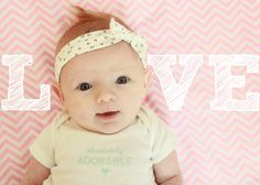baby girl photo monthly baby pictures February baby photo newborn photography pink chevron baby headband love valentines day red hair dimples blue eyes hearts Caraway Lane Photography