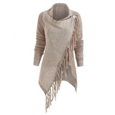 Knitted Tassel Pullovers Women Asymmetrical Fringed Long Sleeve Casual Solid Color Gray Wrap Pullovers Clothes Light Khaki S Dresses For Teens, Modest Dresses, Pretty Dresses, Cardigans For Women, Women's Cardigans, Sweat Shirt, Mode 3d, Pull Long, Dream Closets