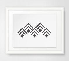 Geometric Mountain Print Aztec Wall Print by MelindaWoodDesigns #Geometric #mountains