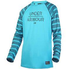 Under Armour Ua Halen Mens 1253299-439 Deceit Blue Long Sleeve Tee Shirt Size L