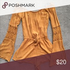 Off the Shoulder Bell Sleeve Romper Worn once! Off the shoulder romper from Forever 21. Size medium. Forever 21 Other