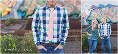 Engagement Photo Outfit Ideas. Blue green plaid, pink tie, green sweater, blue jeans, graffitti. AmberRaePhoto_Engagement_Minneapolis_MN_0001.jpg