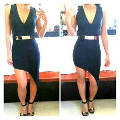 TAYLOR Black Assymetrical Dress NWOT -  Super sexy dress and very unique. Assymetrical cut at the bottom.  Brad padding inside so no need for a bra.  Gold zipper on the back.  Belt included.  I'm wearing size Small. Dresses