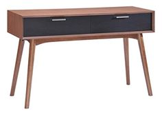 Modern Contemporary Living Room Console Table, Black Wood
