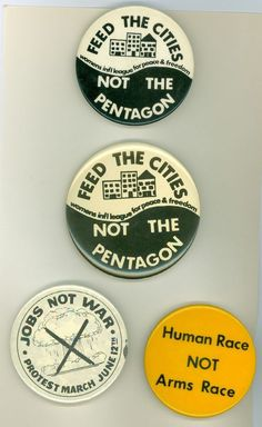 4 Vintage 1980's Peace & Anti-War Pinback Buttons - Jobs Not War Protest March
