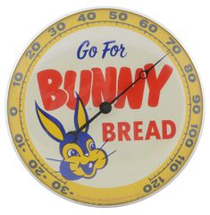 Bunny Bread Advertising Thermometer By Pam Clock. Bunny Bread, Rabbit, Advertising, Clock, Toy, Characters, Magic, Dreams, Detail