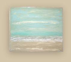 Beach Shabby Chic Acrylic Abstract Painting by OraBirenbaumArt, $345.00
