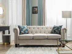 3-Sitzer Sofa Polsterbezug beige gerade Beine CHESTERFIELD Grey 3 Seater Sofa, Beige Sofa, Three Seater Sofa, Chesterfield Sofas, Sectional Sofa, Grey Corner Sofa, Leather Sofa Set, Elegant Sofa