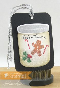 Create With Me: I made this cute snow jar gift tag using stamps and dies from Waltzingmouse adding glitter to the bottom of the jar!