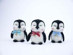 Christmas Holiday Ornaments Penguins Set of 3 - Needle Felted Christmas tree decoration