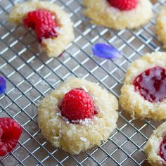 Raspberry Rose Coconut Thumbprint Cookies #dan330 http://livedan330.com/2015/07/09/raspberry-rose-coconut-thumbprint-cookies/