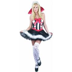 Our sexy Queen of Hearts dress is the perfect Alice in Wonderland costume for any Halloween costume party. For an unique couples costume idea consider any of our adult playing cards costumes. - Satin