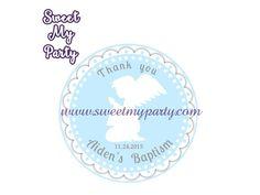 Boy Baptism stickers,Boy Christening thank you tags,(5)