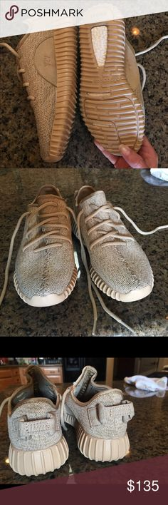 Adidas Oxford Tan Yeezy's Men's 6.5, Woman's 5. UA Oxford Tan Yeezys. Worn twice, just a little too small for me. Look identical to authentic yeezys and are comfortable. Yeezy Shoes Athletic Shoes