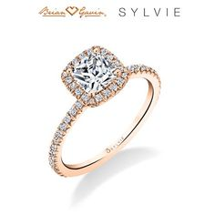 """The Vivian Halo """"Designed By a Woman, for a Woman"""", the Vivian multi-shape halo engagement ring from the Sylvie Collection. My """"Ring of the Week"""" Diamond Dealers, Halo Engagement, Heart Ring, Wedding Rings, Shape, Woman, Collection, Jewelry, Jewlery"""