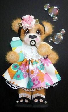 MOMZ Bubbles Tear Bear Girl Piecing 4 Scrapbook Page *Adriana*