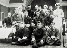 Agatha Christie worked on the Home Front in World War I with the Voluntary Aid Detachment in a Red Cross Hospital in Torquay. She learnt about poisons, knowledge that aluable for her fiendish plots. She's pictured with soldiers in 1914, top row, third from left