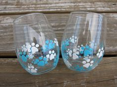 Teal & White Cat/Dog/Pet Pawprint - Hand Painted Stemless White Wine Glass 'Vet/Dog Walker/Groomer Gifts Under 15' 15.00/Pair by BassetsontheBeach