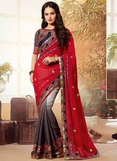 Red And Grey Georgette Reception Wear Half N Half Saree.Is Designed Plain Georgette Pallu And Georgette Jacquard Skirt With Embroidery Work Border.Available With Matching Embroidered Designer Row Silk Unstitched Blouse Piece. Indian Designer Sarees, Designer Sarees Online, Indian Sarees, New Saree Designs, Blouse Designs, Fancy Sarees, Party Wear Sarees, Mirror Work Blouse Design, Bridal Sarees Online