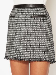Tweed Fringed Mini Skirt by Rebecca Taylor at Gilt