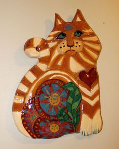 Chester the Cat  Ceramic Wall Decor by GinsLilCharacters on Etsy SOLD :-)