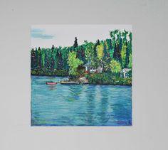 tableau peinture originale nature pastel Quebec Canada par Celinemodernart sur Etsy