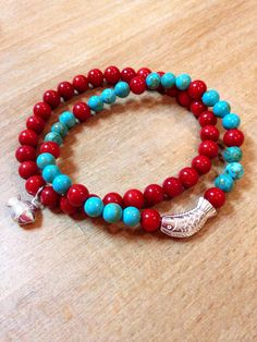 Bracelets: red coral + turquoise + 999 Silver. balmes.roxana@gmail.com