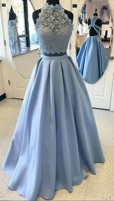 prom dress,prom dresses,High Neck Prom Gown,Fashion Lace Top A-Line Blue Prom Gowns,Satin Long Prom Dress with Lace,Sexy Backless Prom Dress,Long Evening Dress,Formal Dress