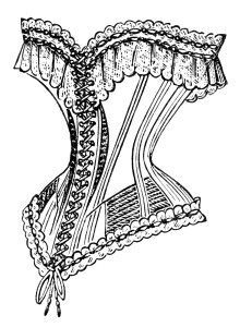antique french corset image, vintage corset clipart, black and white clip art, victorian ladies fashion, old magazine ad: