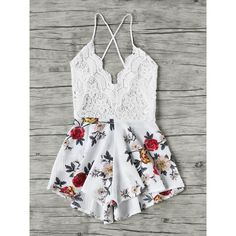 SheIn(sheinside) Floral Print Lace Paneled Criss Cross Backless Romper ($13) ❤ liked on Polyvore featuring jumpsuits, rompers, floral romper, floral rompers, sexy jumpsuits, long-sleeve rompers and white romper jumpsuit