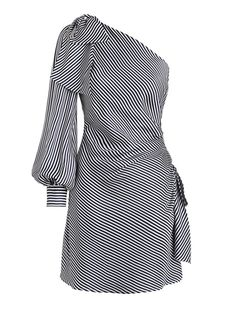 3a2316001c1f Striped One Shoulder Lace-Up Women s Day Dress