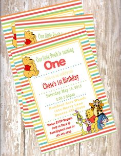 Winnie the Pooh invitation - 1st birthday, baby shower, Disney, boy birthday
