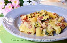 Paccheri+al+forno+con+zucchine,+speck+e+besciamella,+ricetta+favolosa