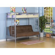 dhp twin over futon low loft bed with built in ladder