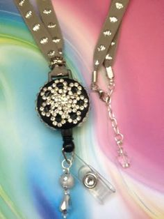 Gray and Silver Bling Retractable Badge Reel / by ForTheLovetlc, $18.00