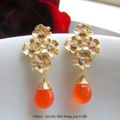 Flower Bouquet with orange drops Earrings