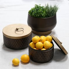 Set of two metal canisters in a bronze finish with lids. Item Metal pot with gold tapered bottom in brushed bronze finish. Fiberglass Planters, Modern Decor, Decorative Accessories, Accent Decor, Metal Canisters, Dining Room Decor, Industrial Decor, Home Decor, Occasional Furniture