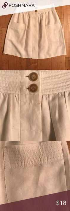 JCrew Linen Skirt Off white linen/lyocell blend skirt with tan buttons up front. Worn higher waisted. In excellent condition. By JCrew. J. Crew Skirts Mini