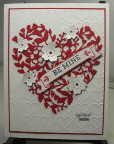 by Sandy: Bloomin' Love stamp set, Bloomin' Heart Thinlits, Happy Hearts embossing folder - all from Stampin' Up!