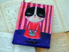 Knitty Kitty - Original Mixed Media Painting By Danita Art - 6x8 Inches On Canvas. $65.00, via Etsy.